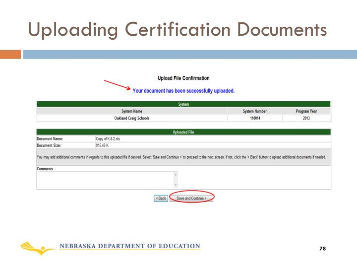 Uploading Certification Documents