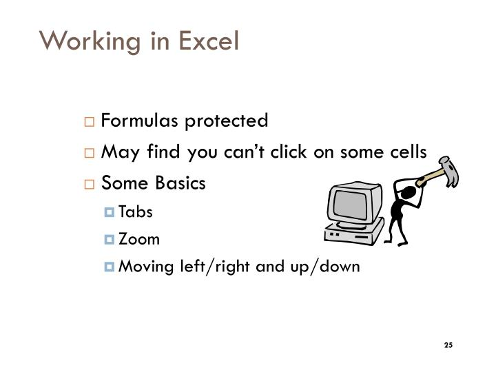 Working in Excel