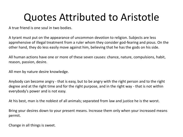 Quotes Attributed to Aristotle
