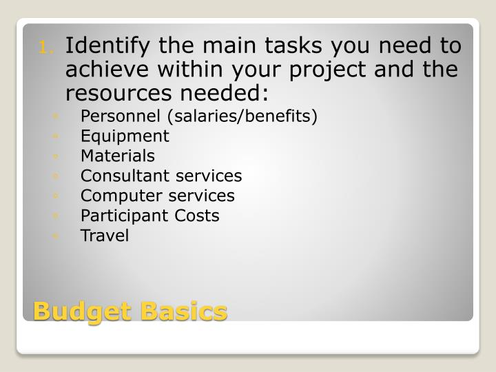 Identify the main tasks you need to achieve within your project and the resources needed: