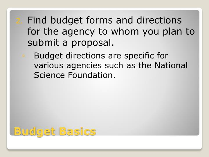 Find budget forms and directions for the agency to whom you plan to submit a proposal.