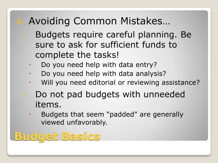 Avoiding Common Mistakes…