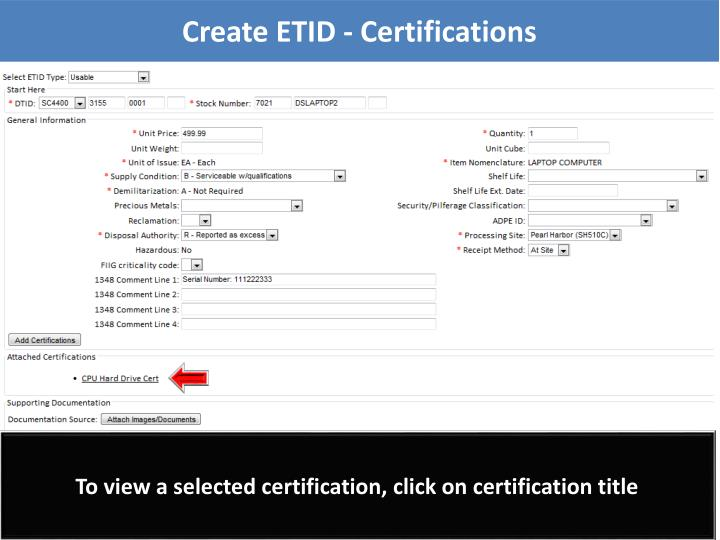 Create ETID - Certifications