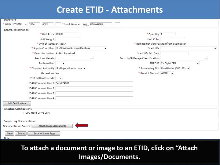 Create ETID - Attachments
