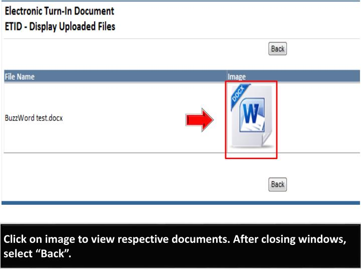 "Click on image to view respective documents. After closing windows, select ""Back""."