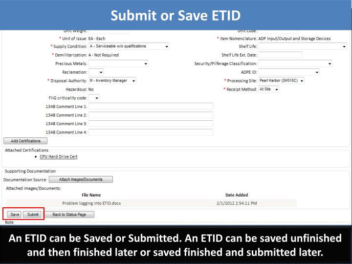 Submit or Save ETID