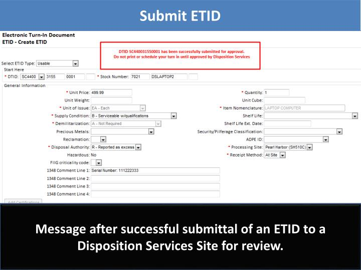 Submit ETID
