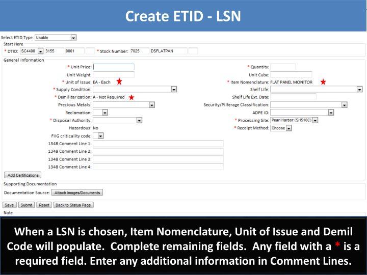 Create ETID - LSN