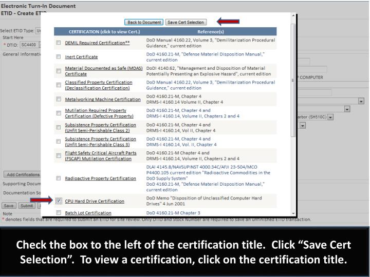 "Check the box to the left of the certification title.  Click ""Save Cert Selection"".  To view a certification, click on the certification title."