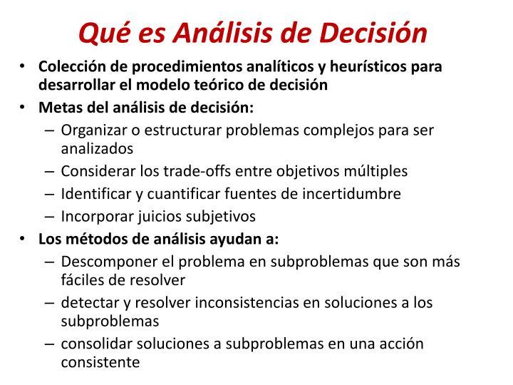 Qué es Análisis de Decisión