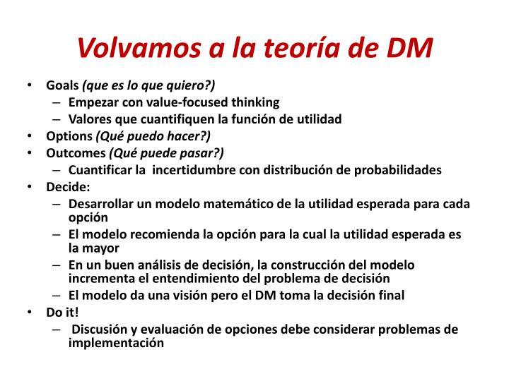 Volvamos a la teoría de DM