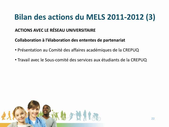 Bilan des actions du MELS 2011-2012 (3)