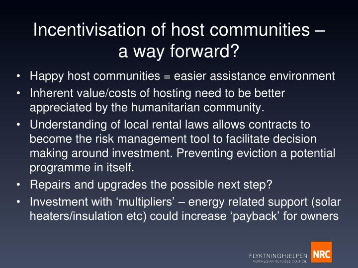 Incentivisation of host communities – a way forward?