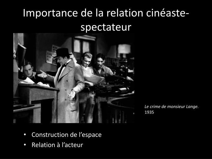 Importance de la relation cinéaste-spectateur