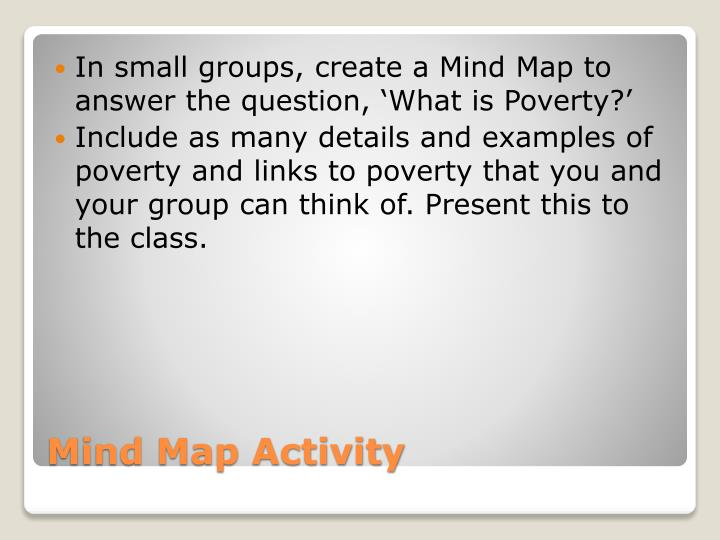 In small groups, create a Mind Map to answer the question, 'What is Poverty?'