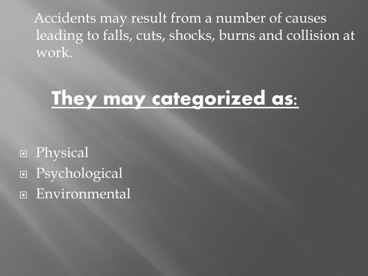 Accidents may result from a number of causes leading to falls, cuts, shocks, burns and collision at work.