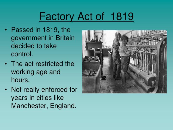 Factory Act of  1819