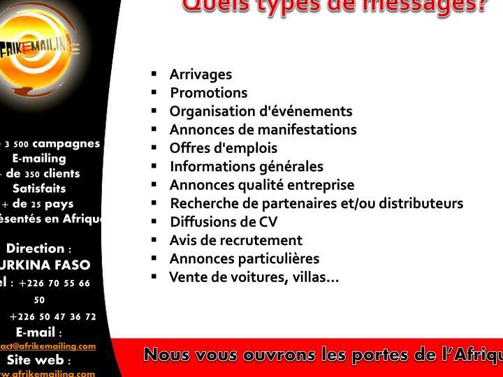 Quels types de messages?