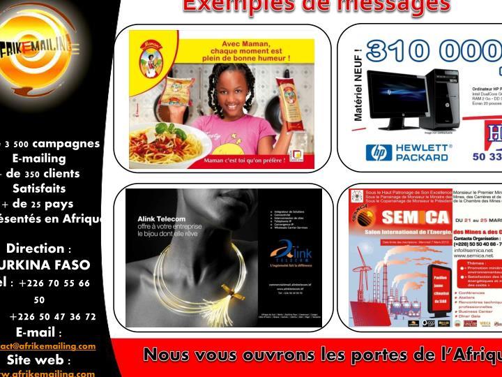 Exemples de messages