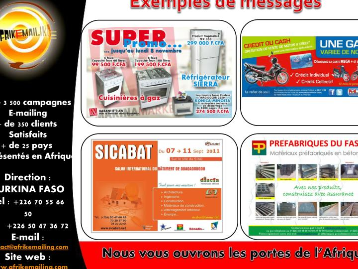 Exemples de messages