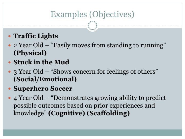 Examples (Objectives)