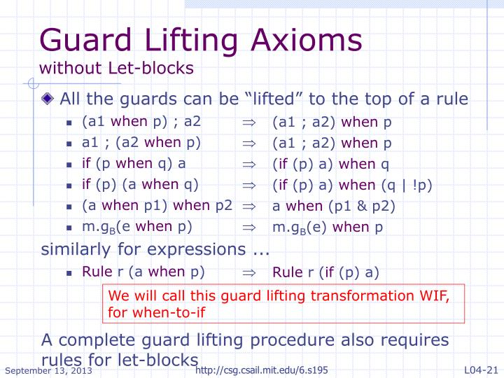 Guard Lifting Axioms