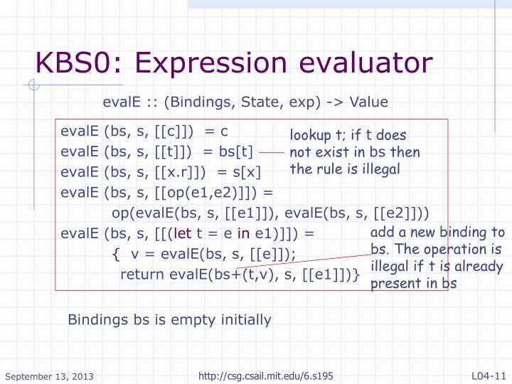 KBS0: Expression evaluator