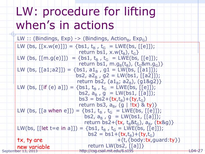 LW: procedure for lifting when's in actions