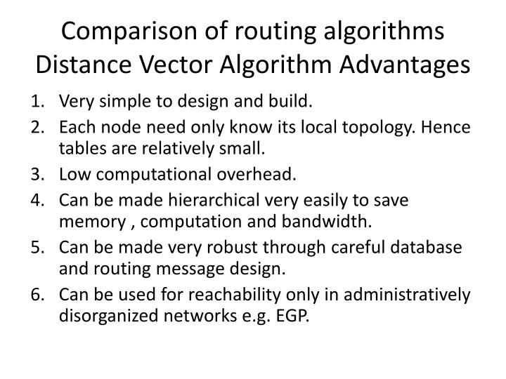 Comparison of routing algorithms