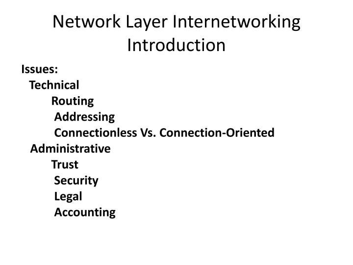 Network Layer Internetworking Introduction