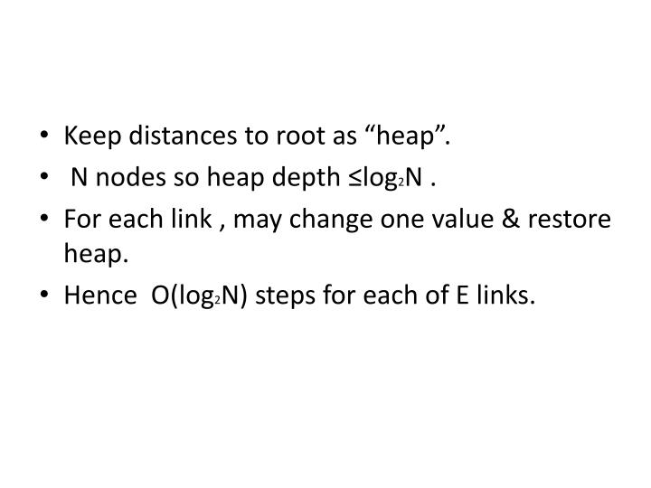 "Keep distances to root as ""heap""."