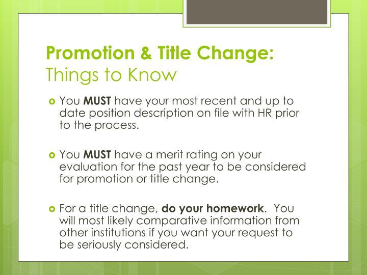 Promotion & Title Change: