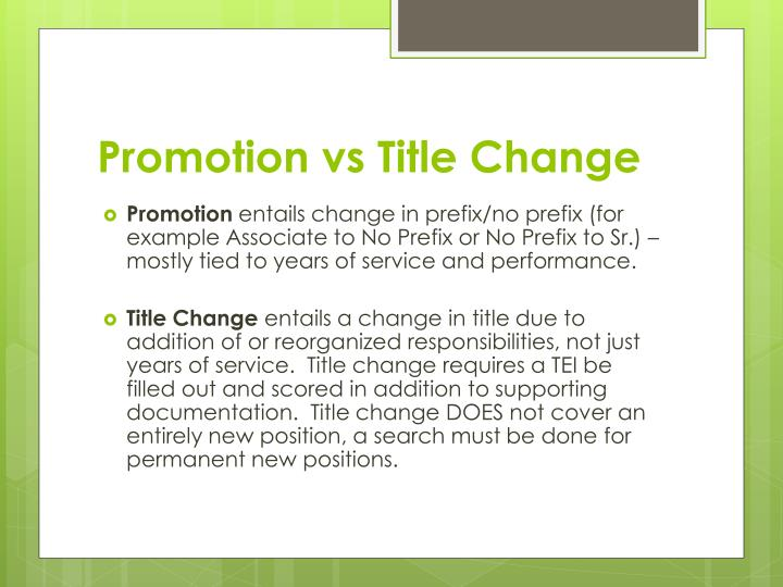 Promotion vs title change