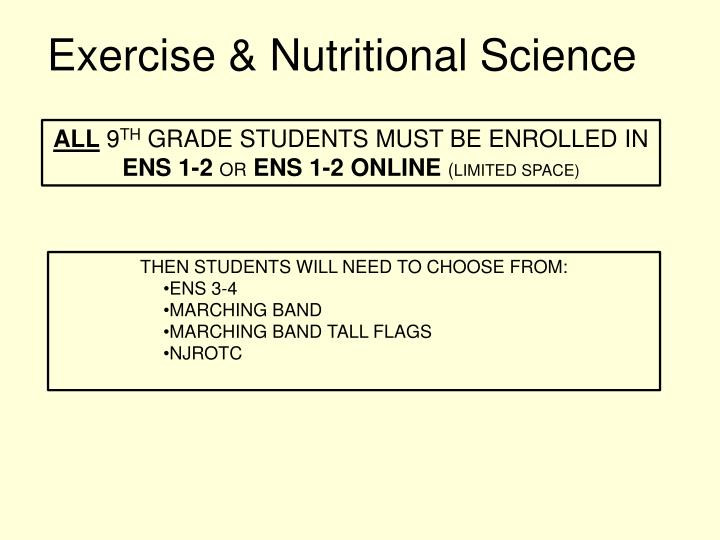 Exercise & Nutritional Science