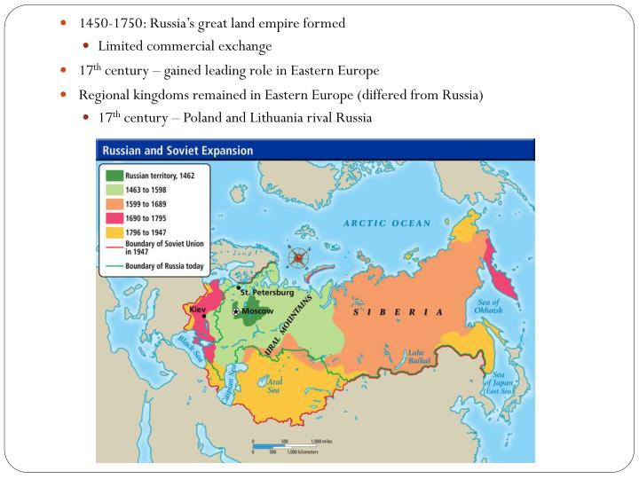 1450-1750: Russia's great land empire formed