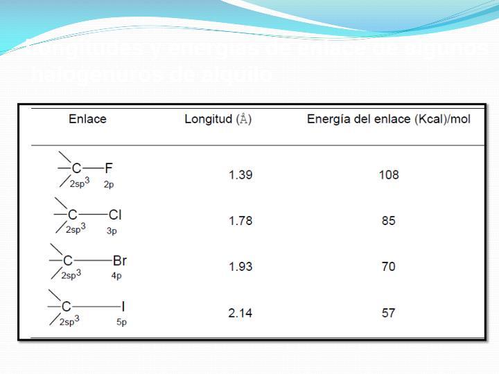 Longitudes y energías de enlace de algunos