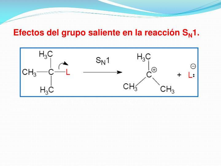 Efectos del grupo saliente en la reacción S