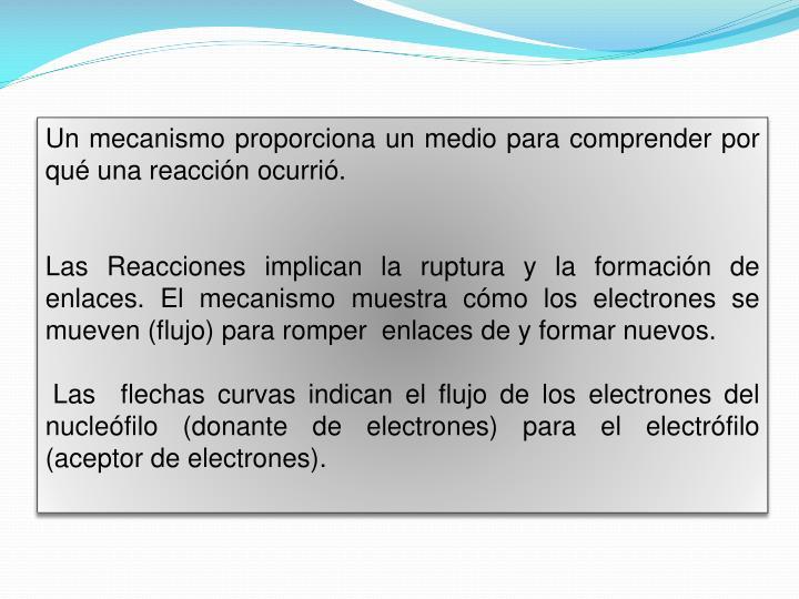 Un mecanismo proporciona un medio para comprender por qué una reacción ocurrió.
