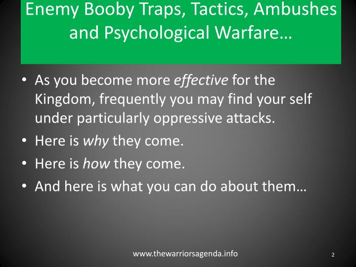 Enemy booby traps tactics ambushes and psychological warfare