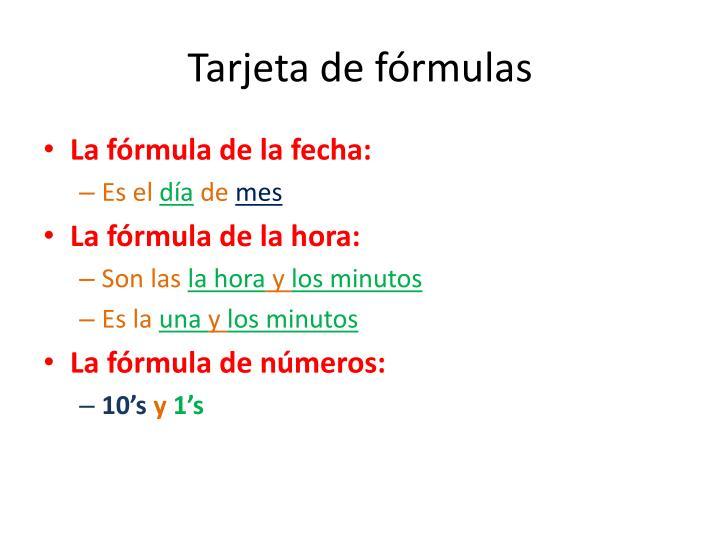 Tarjeta de fórmulas