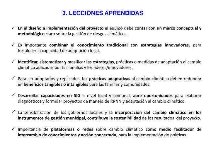 3. LECCIONES APRENDIDAS