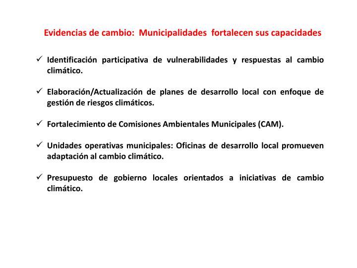 Evidencias de cambio:  Municipalidades