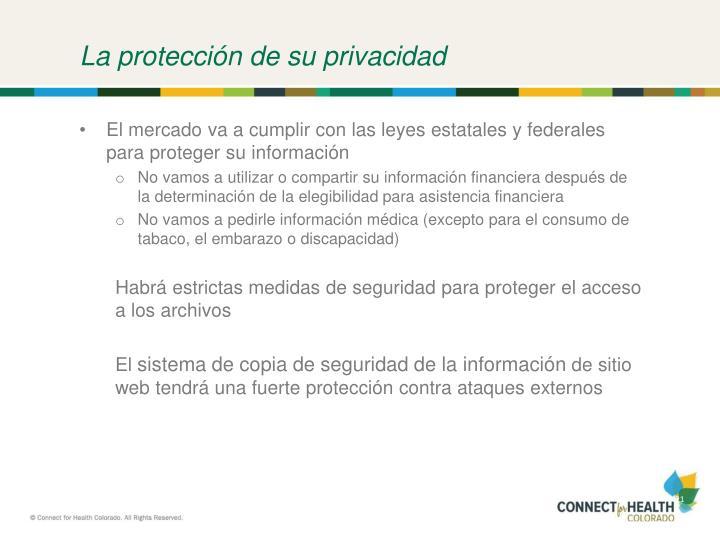 La protección de su privacidad