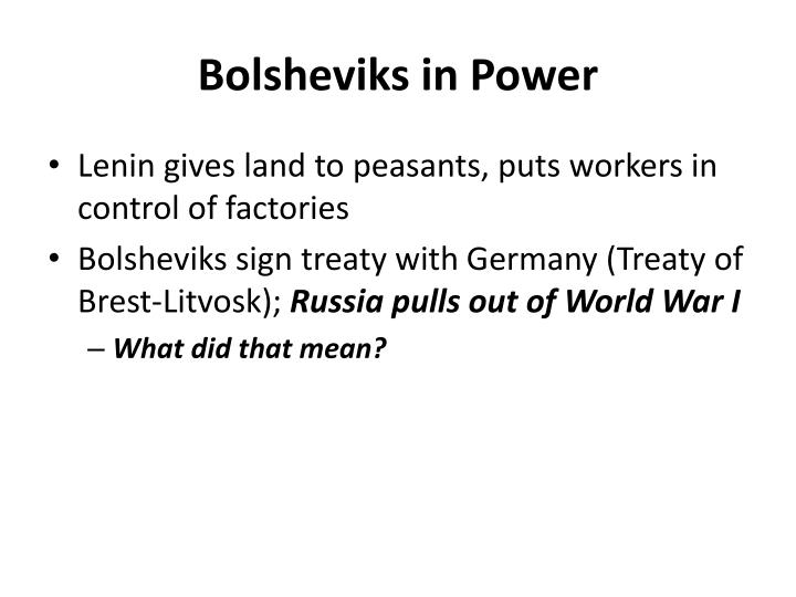 Bolsheviks in Power