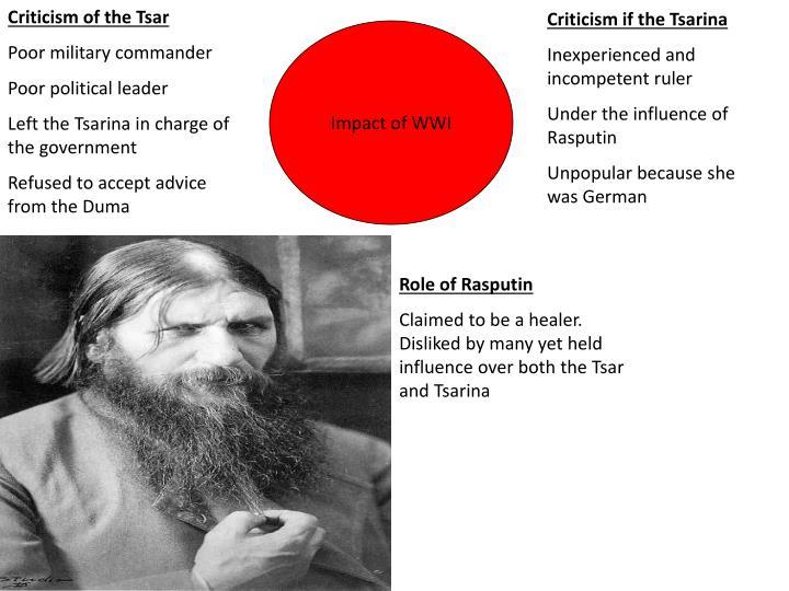 Criticism of the Tsar