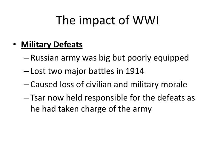 The impact of WWI