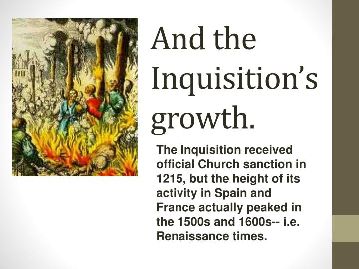 And the Inquisition's growth.