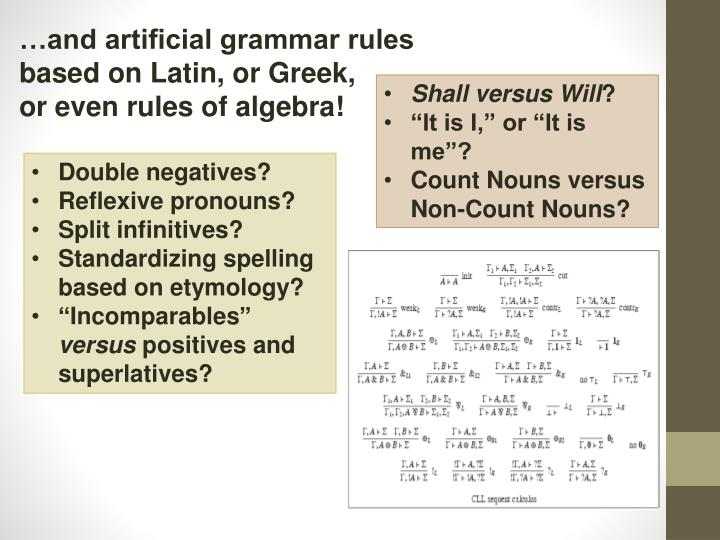 …and artificial grammar rules