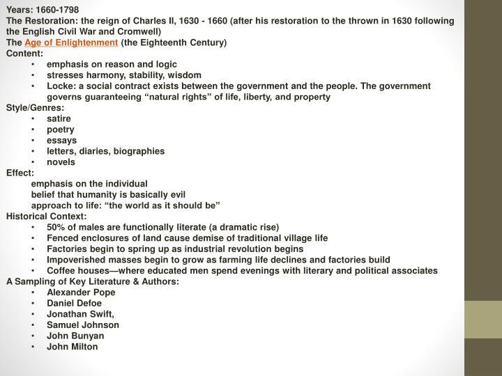 Years: 1660-1798