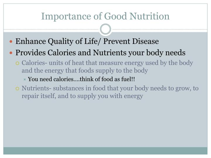 Importance of Good Nutrition